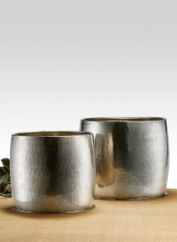 8 1/2 x 8 1/2in Barrel Shaped Antiqued Silver Planter