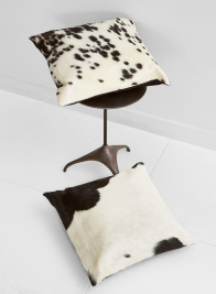 black white cowhide leather pillow home decor