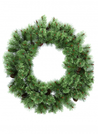 30IN ARTIFICIAL PINE WREATH WITH PINE CONES & BERRIES