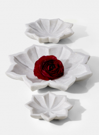 carved white marble decorative lotus flower bowl