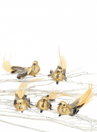 6in Gold Foil & Feather Bird With Clip, Set Of 12