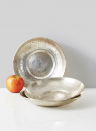 handmade etched silver brass bowl